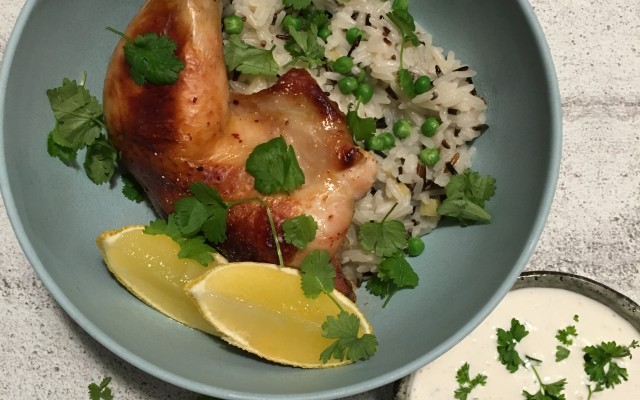 Honning/chili marineret kylling med kokosris