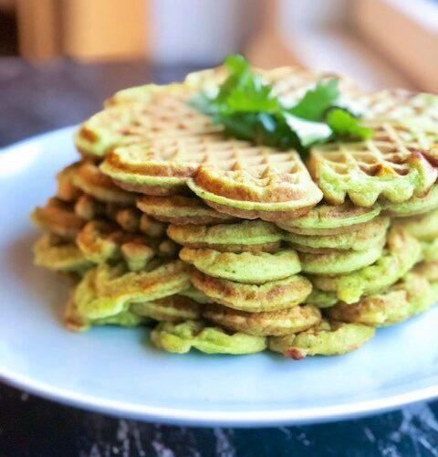 Proteinvafler med spinat